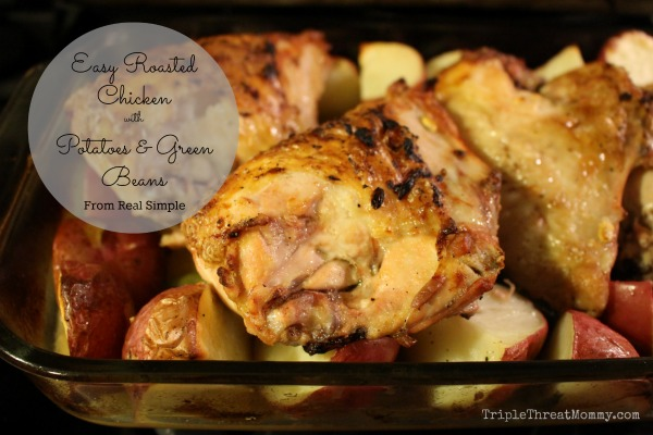 Easy Pan Roasted Chicken with Lemon Garlic Potatoes and Green Beans Recipe